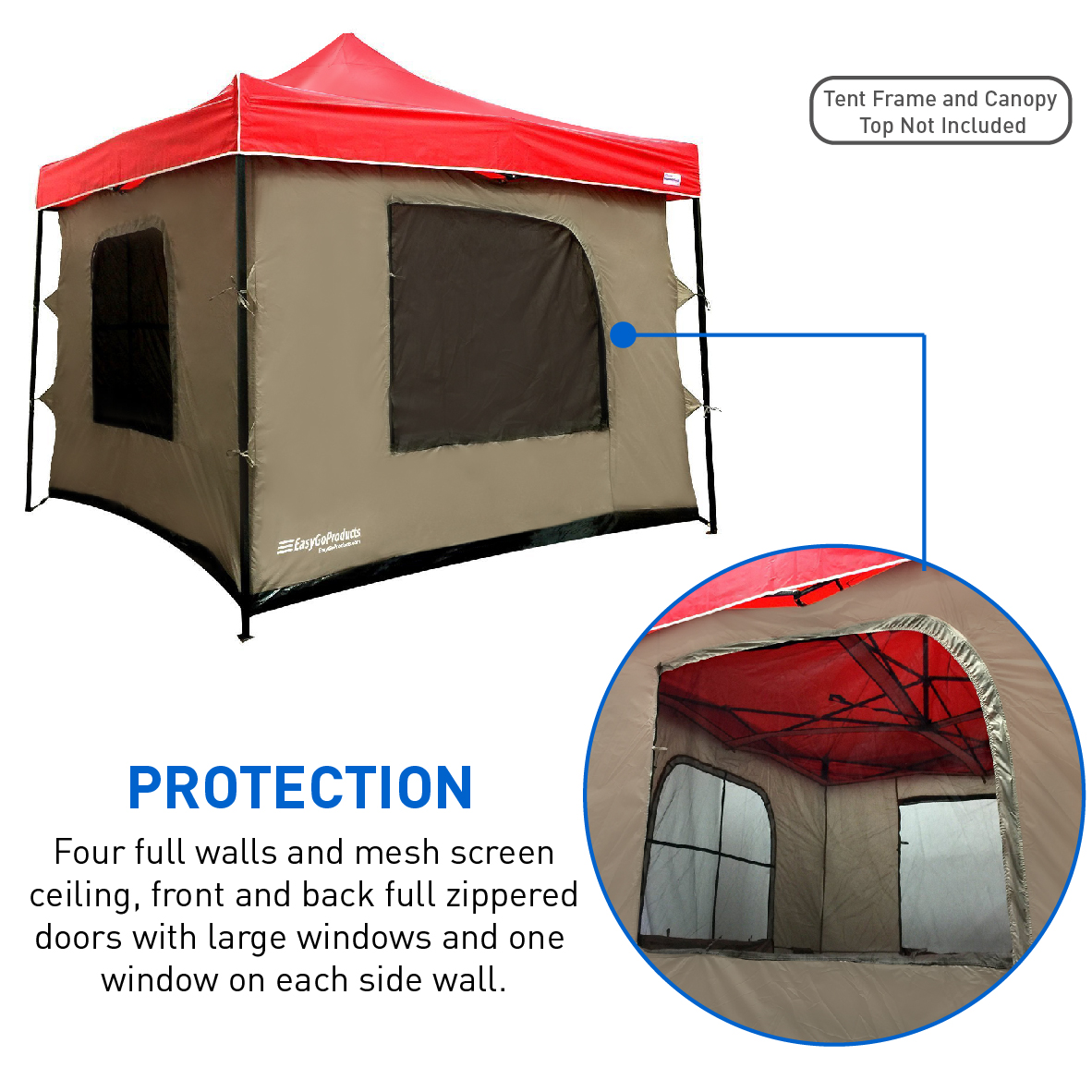 C&ing Tent attaches to any 10u0027x10u0027 Easy Up Pop Up Canopy Tent w  sc 1 st  Walmart & Camping Tent attaches to any 10u0027x10u0027 Easy Up Pop Up Canopy Tent w ...