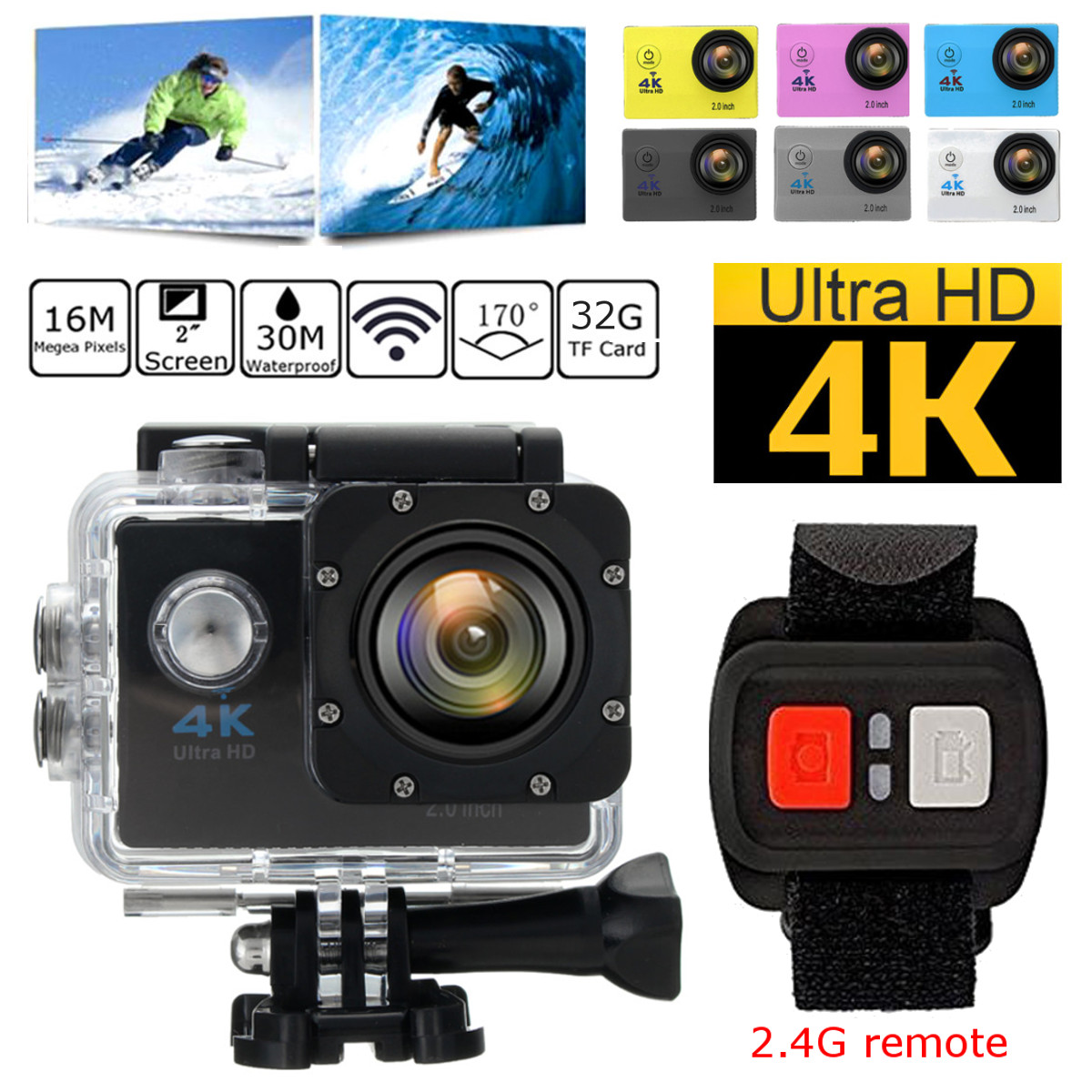"Waterproof 2.0"" LCD Screen 4K SJ9000 Wifi 1080P Ultra HD Sports Action Camera DVR Cam Camcorder 170 Degree Wide Angle"