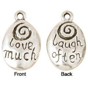 Blue Moon Silver-plated Metal Charms-love Much/laugh Often 5/pkg