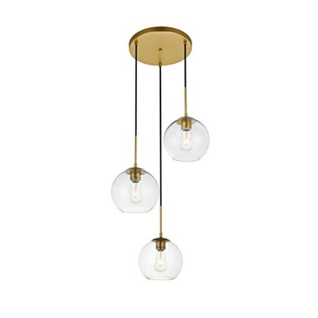 - Elegant Lighting Baxter 3 Lights Brass Pendant With Clear Glass