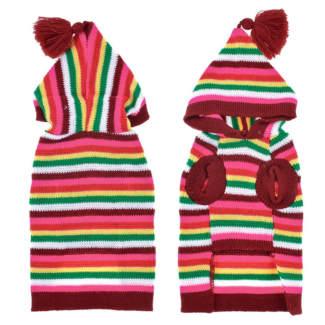 Unique Bargains Colored Hooded Knit Pet Doggie Shih Tzu Sweater Clothing Coat Apparel L