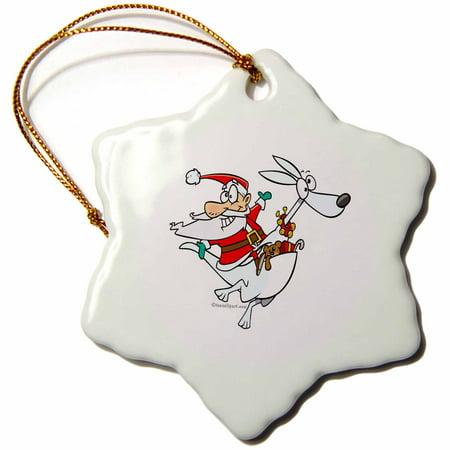 Silly Santa - 3dRose Silly Santa on a Kangaroo - Snowflake Ornament, 3-inch