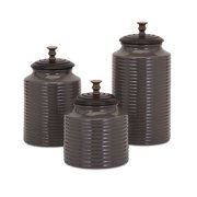 Eye-catching Cream Lidded Canisters - Set of 3