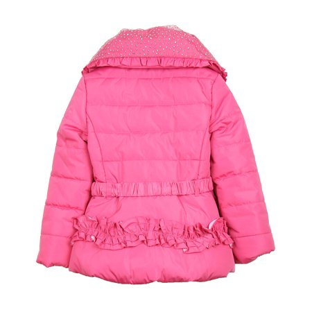 ab0dcb9ecef2 Le Chic Girl's Puffer Jacket with Shawl Collar Hot Pink, Sizes 3-14 ...