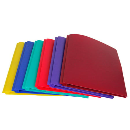 Lightahead LA-E293B (New Version) Two Pocket Poly File Portfolio Folder with 3 Prongs Fastners, Set of 6 folders in Assorted colors (Poly 3 Prong 2 Pocket Folders)