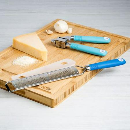 Tasty Royal Blue Handheld Grater and Blue Garlic Press