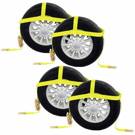 "Wheel Net 2"" Tire Holder w/ Ratchet Strap & Flat Snap Hooks - 4 Pack"