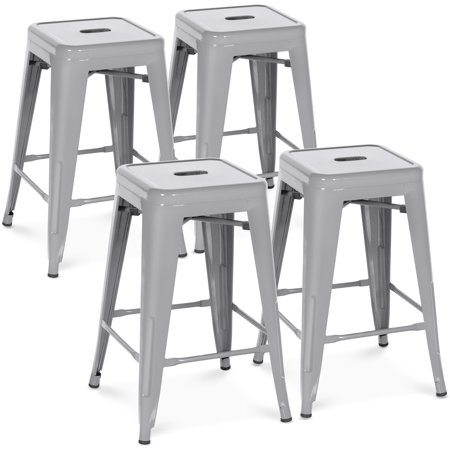 Best Choice Products 24in Set of 4 Indoor Outdoor Stackable Backless Counter Height Stools - Silver ()