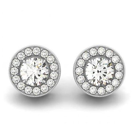 Harry Chad HC13061 2.20 CT 14K White Gold Jewelry Round Diamonds Halo Stud Earrings - Color F - VS1 & VVS1 Clarity