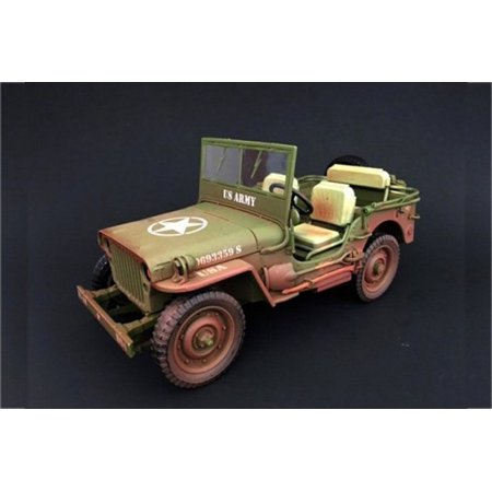 American Army Vehicles - ARMY Jeep Vehicle US ARMY Dirty Version, Green - American Diorama 77404A - 1/18 Scale Diecast Model Toy Car