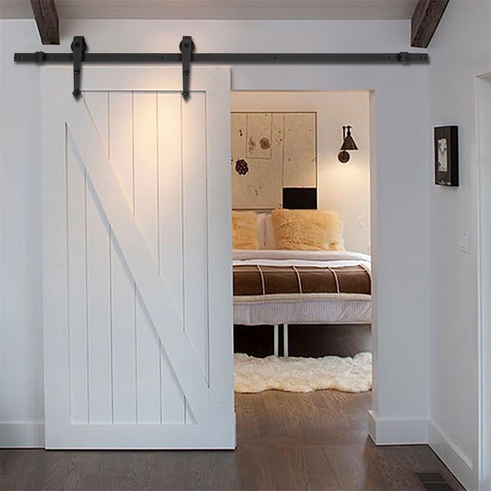 Sliding Barn Door, Sliding Barn Door Hardware Kit, 10ft Rustic Black Stainless Steel Arrow Style Sliding Barn Door Hardware Kit