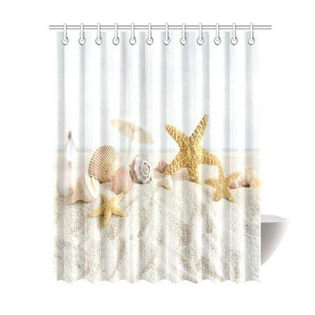 WOPOP Sea Shells and Starfish Decor Shower Curtain, Beach Seashells Nautical Ocean Seaside Seascape Coastal Art Print Polyester Fabric Shower Curtain 66x72 Inches X-Long, White Sand ()