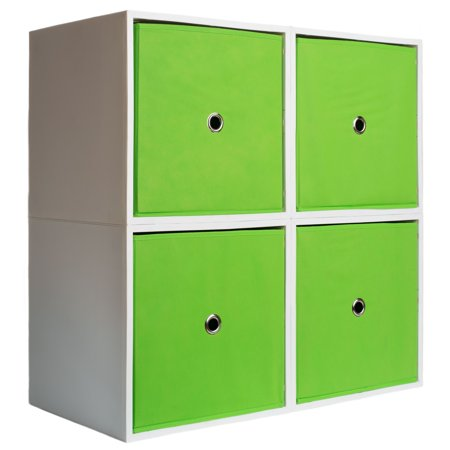 iCube 4-Cube Lowboy with Drawers, Lime