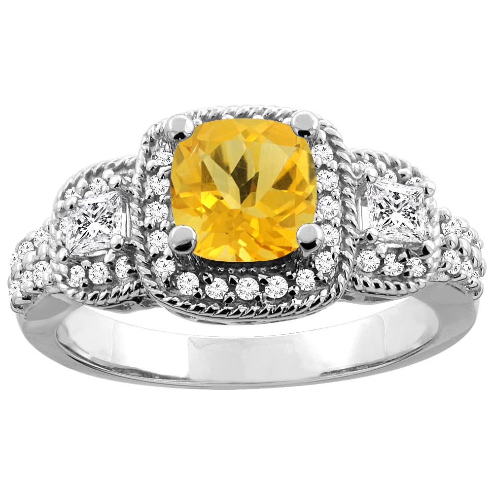 14K White Gold Natural Citrine Ring Cushion-cut 6x6 mm Diamond Accent, size 5 by Gabriella Gold