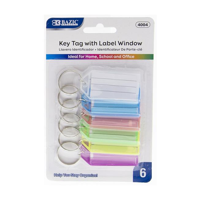 Bazic 2323158 Bazic Key Tags with Holder & Label Window Pack of 6 Case of 24 by Bazic Products