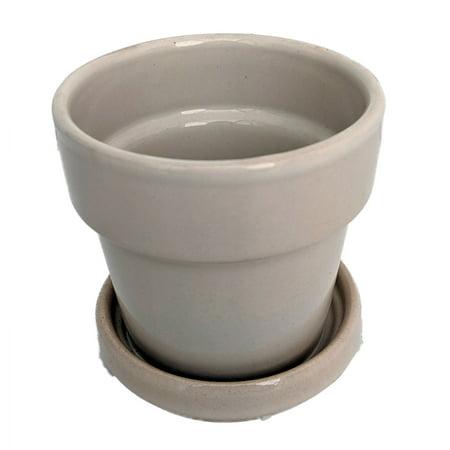 Glazed Ceramic Pot/Saucer plus Felt Feet - White - 2 3/4