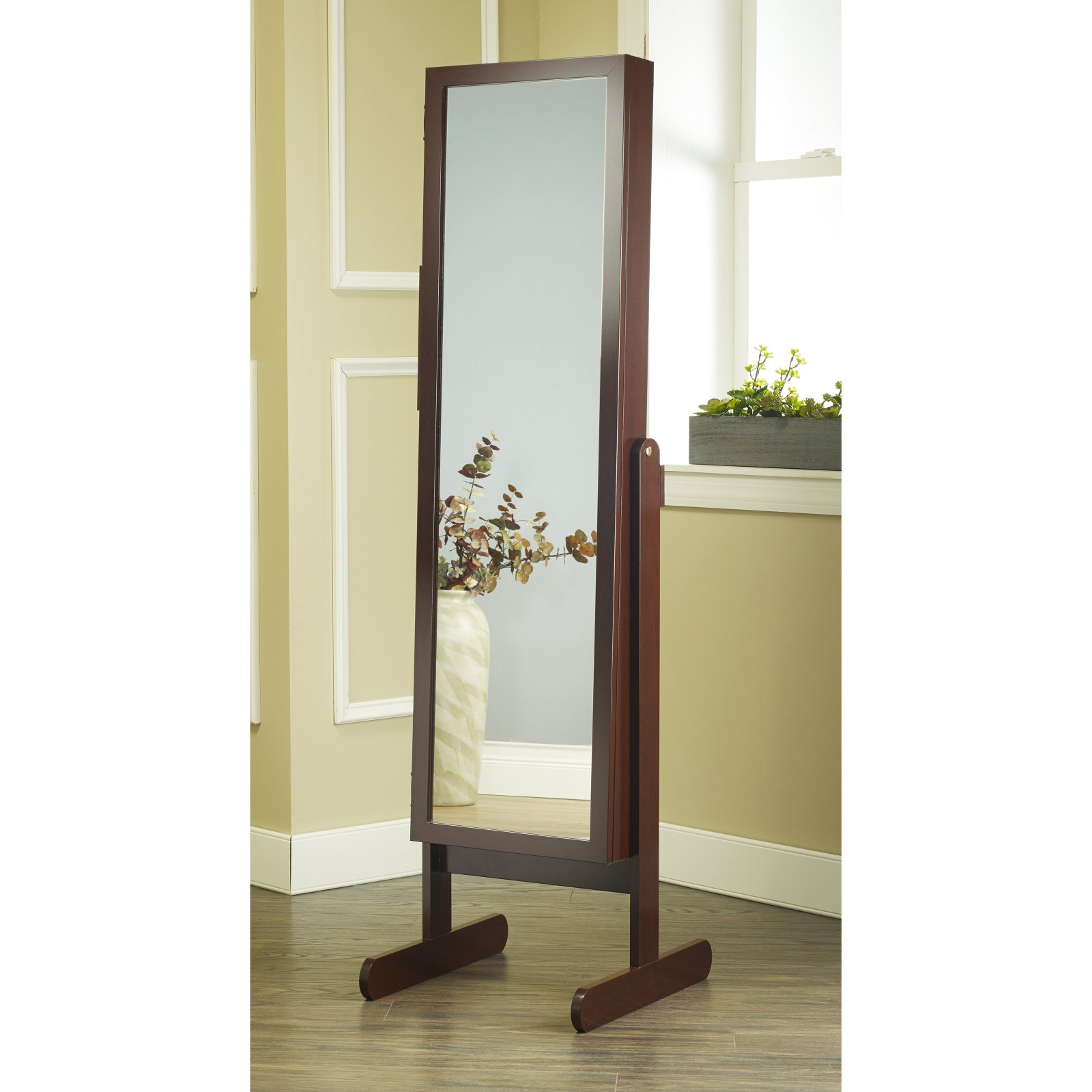 Mirrotek Free Standing Jewelry Armoire Cabinet Style Jewelry Armoire With Adjustable
