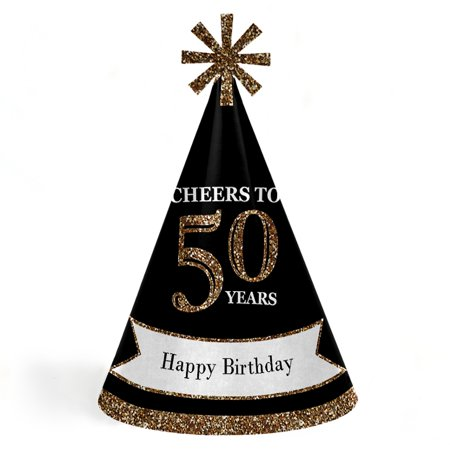 Adult 50th Birthday - Gold - Cone Birthday Party Hats - Set of 8 (Adult Size)