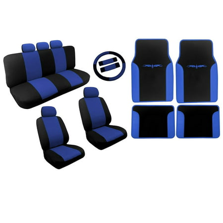 Black and Blue Dual Color Seat Covers Two Tone Tribal Floor Mats Vinyl Trim For Mazda 626