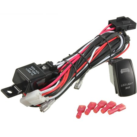 12V 300W LED Rocker Switch Light Bar Wiring Harness On Off Laser 40A Wiring Harness Boat on