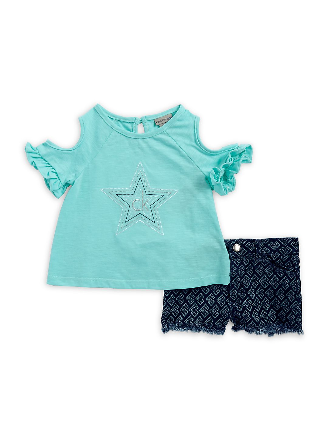 Little Girl's Two-Piece Cold-Shoulder Top and Shorts Set
