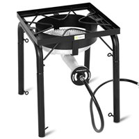 "GHP 16""x16.""x31.5"" 200000BTU Black Cast Iron Portable Single Burner Propane Stove"