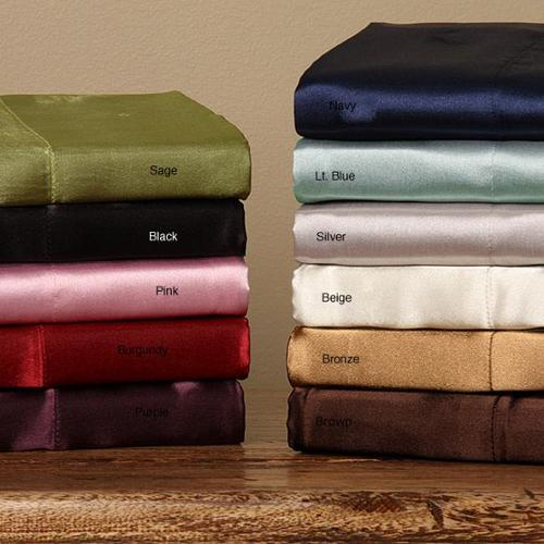 Silky Satin Twin/ Full-size Satin Sheet Set Full Burgundy