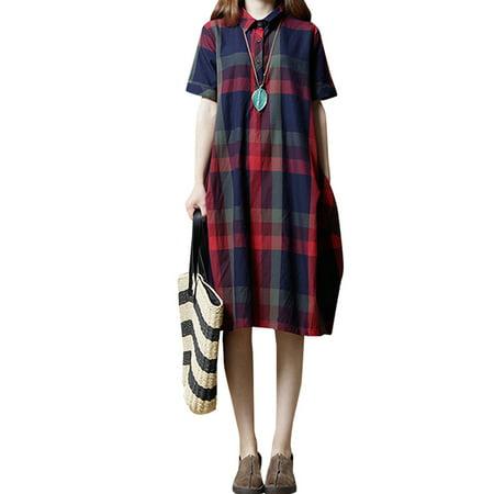 Retro Baggy Women Casual Plaid Dress Long Tops Side Pockets Shirt Dress Retro Shirt Dress