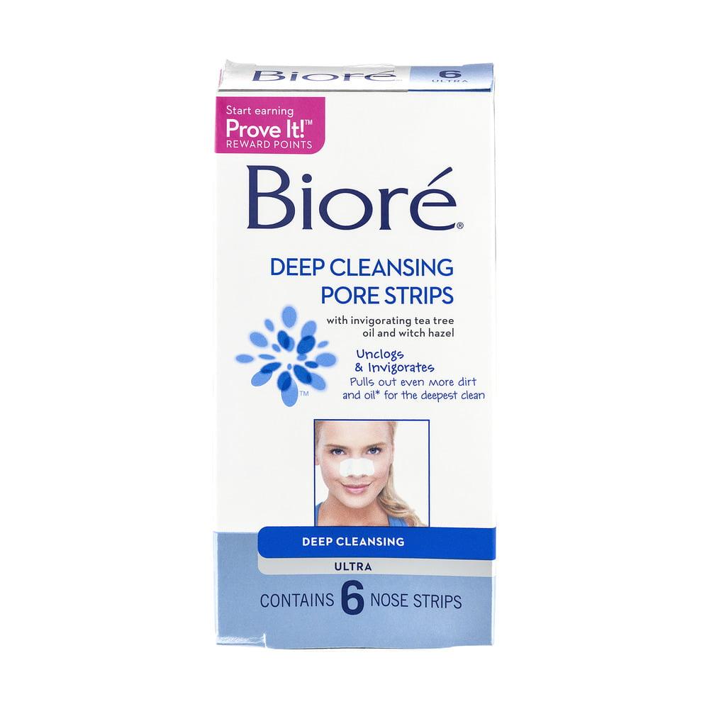 Biore Ultra Pore Strips Deep Cleansing Pore Strips 6 ct - Walmart.com