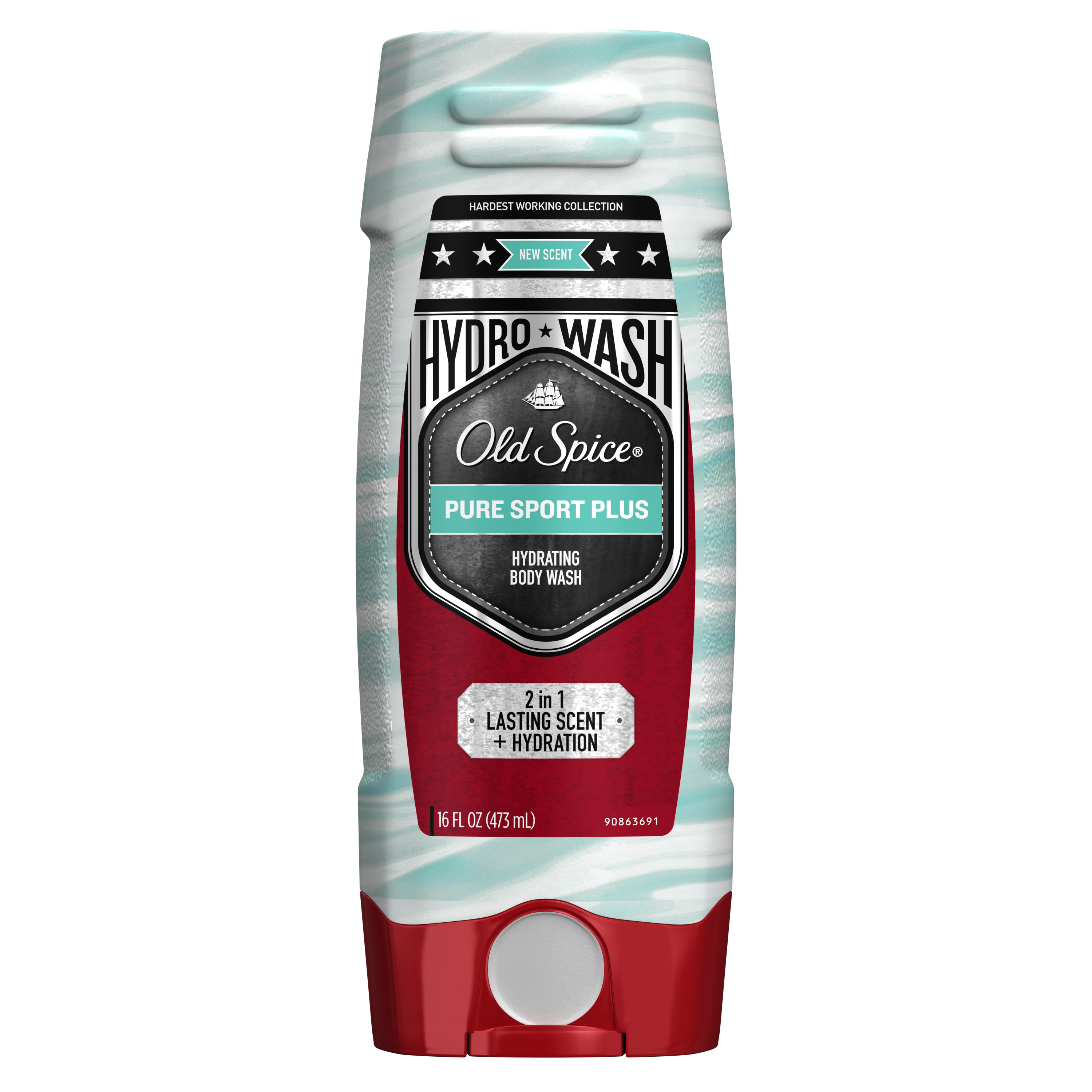 Old Spice Hydro Wash Body Wash Hardest Working Collection Pure Sport Plus 16 oz