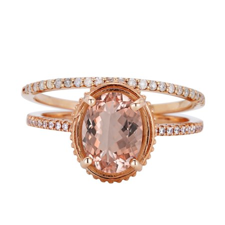 2 Carat Oval Cut Real Peach Morganite And Diamond Artdeco Antique Wedding Ring Set On 18K Rose Gold Over Silver (Peach And Gold Wedding)