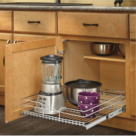 "Rev-A-Shelf 5WB Series 21"" Single Pull Out Chrome Wire Basket"