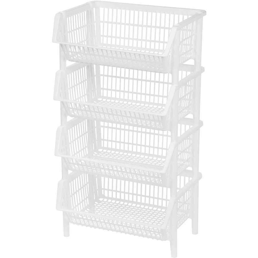 IRIS Jumbo Plastic Stacking Basket, White Set of 4