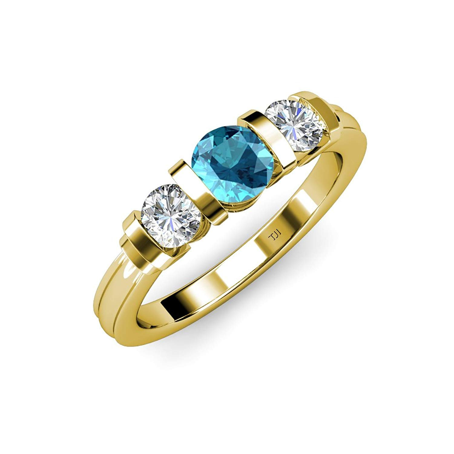 London Blue Topaz and Diamond (SI2-I1, G-H) Bar Set Three Stone Ring 1.20 ct tw in 14K Yellow Gold.size 8.0 by TriJewels