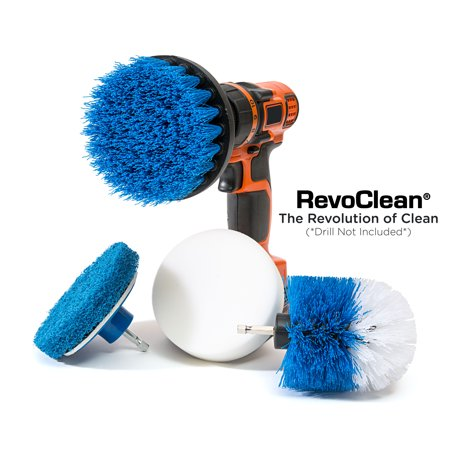 RevoClean 4 Piece Scrub Brush Power Drill Attachments-All Purpose Time Saving Kit-Perfect for Cleaning Grout, Tile, Counter, Shower, Grill, Floor, Kitchen, Blue & (Best Grout Cleaning Machine)