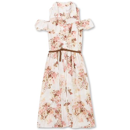 Lots Of Love By Girls' 7-16 Floral Walk-Thru Romper Shirt Dress