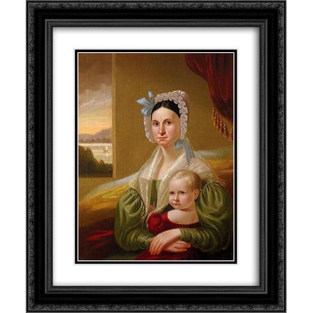 George Caleb Bingham 2x Matted 20x24 Black Ornate Framed Art Print 'Mrs. David Steele Lamme and Son, William Wirt (Bingham Hudson)