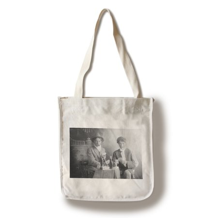 Two Men Playing Cards and Drinking in Saloon Style (100% Cotton Tote Bag - Reusable) (Play Card Tote)