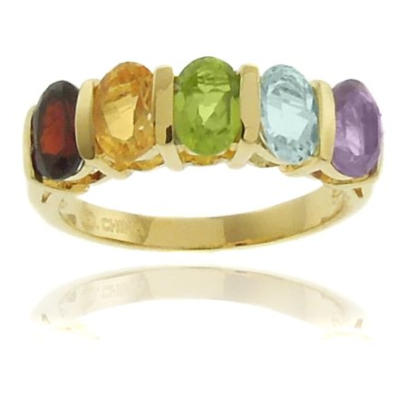 18k Gold Overlay Multi-gemstone 5-stone Ring with Red Bow Gift (Bow Ring Jewellery Box)