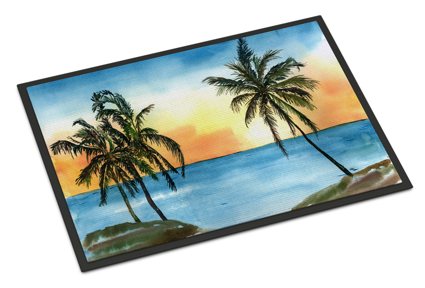 Palm Tree Scene Doormat by Caroline's Treasures