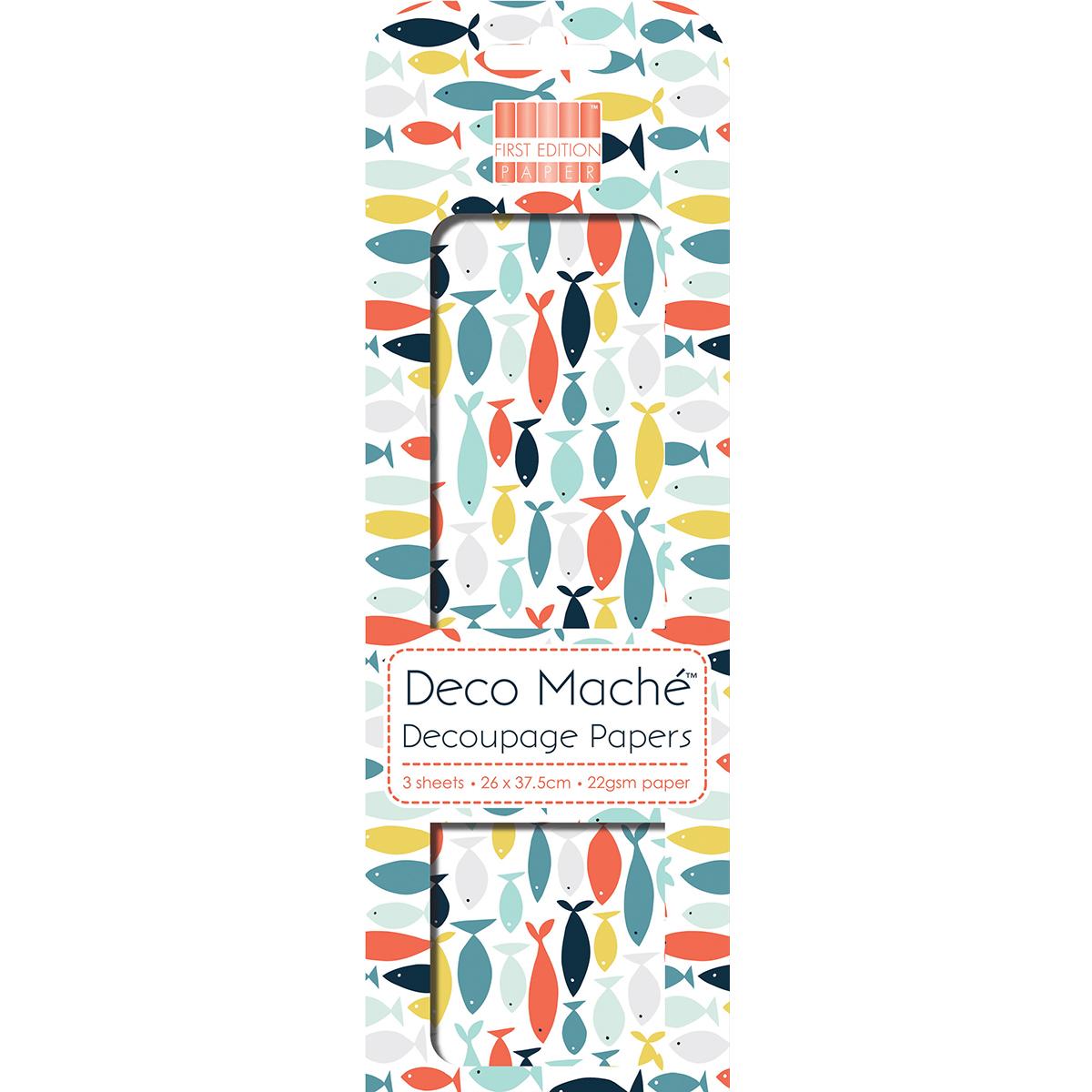 "Deco Mache Paper 10.25""X14.75"" 3/Pkg-Fish"