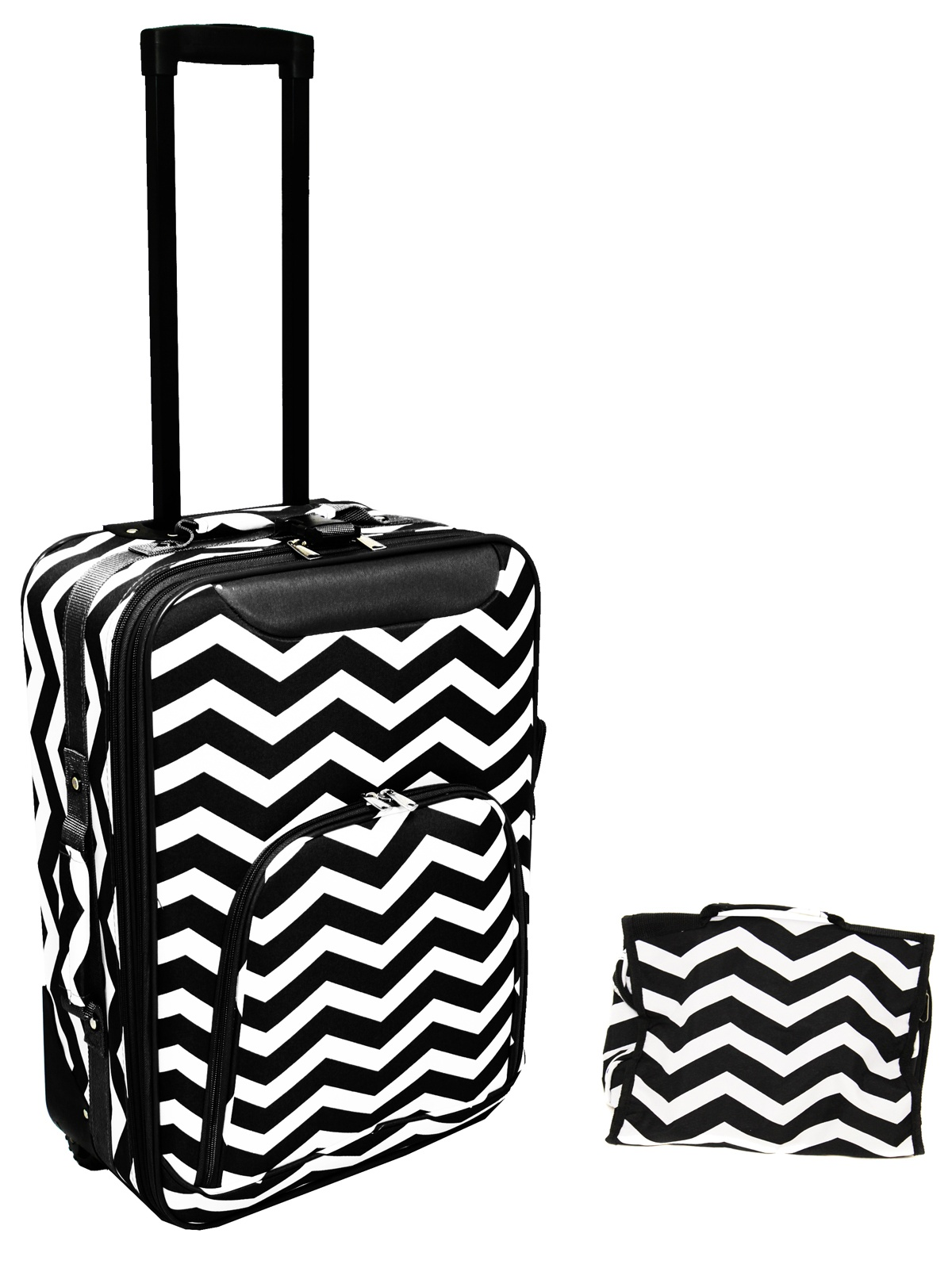 """All-Seasons 2-Piece Chevron Print 20"""" Rolling Carry-On Luggage Set"""