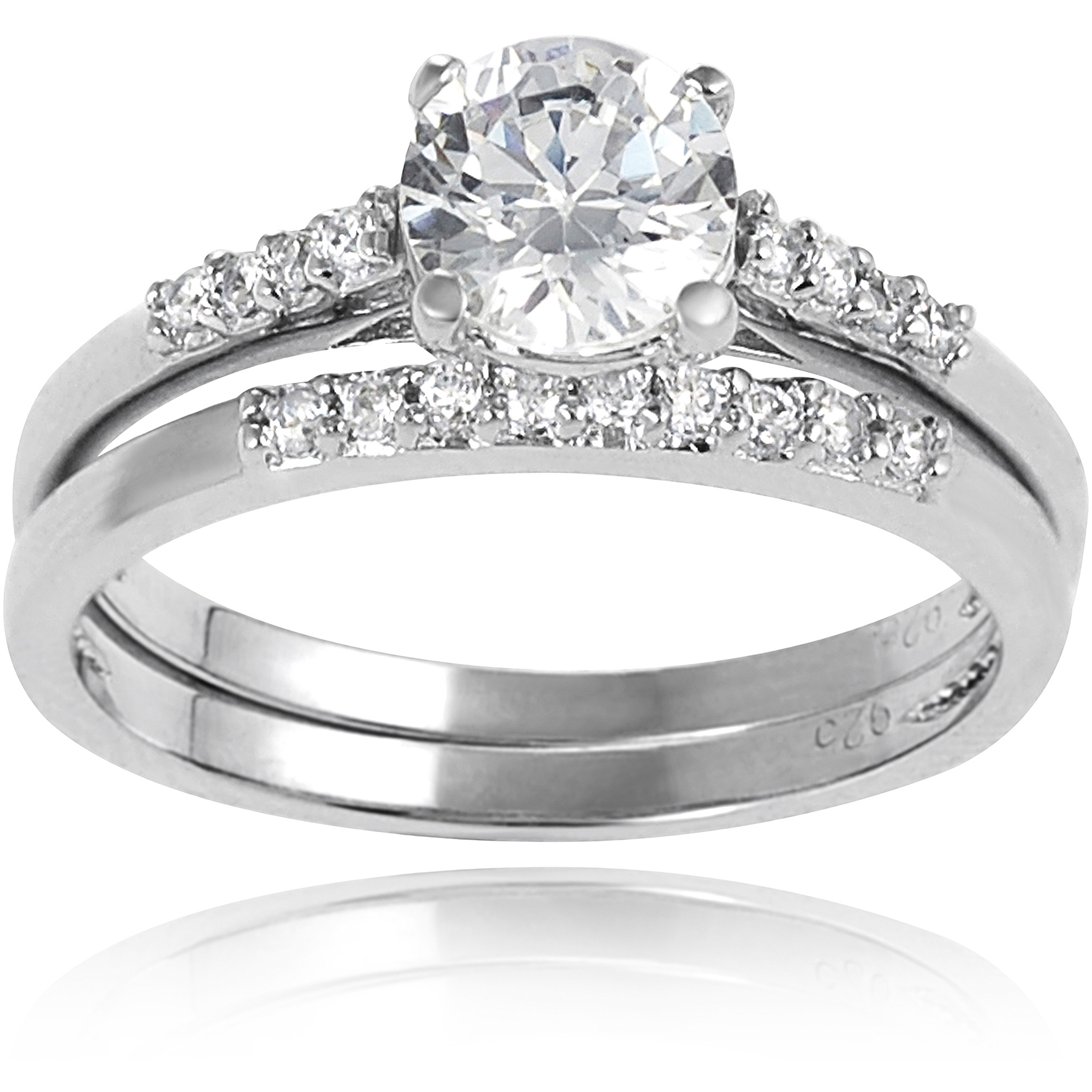 Alexandria Collection Sterling Silver White Round Cubic Zirconia Engagement Ring