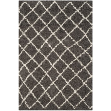 Safavieh Dallas Shag 3' X 5' Power Loomed Rug in Dark Gray and Ivory - image 2 de 10