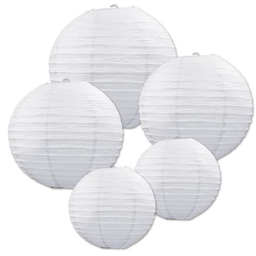 Club Pack of 30 Assorted White Decorative Classical Paper Lantern Hanging Decorations 9.5""