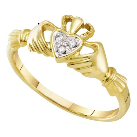10k Yellow Gold Diamond Womens Small Dainty Claddagh Engagement Wedding Bridal ring (.01 cttw.) size- 8.5