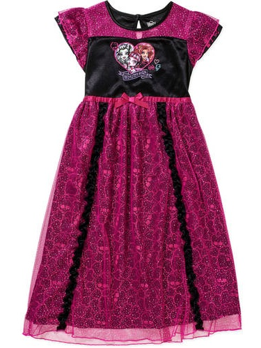 "Monster High Big Girls' ""Glitter & Ruffle"" Nightgown (Sizes 7 - 16)"