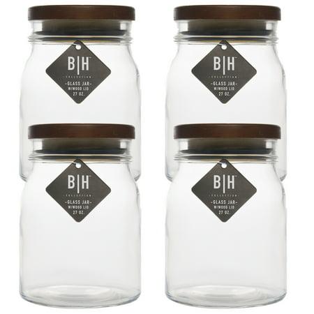 Blue Harbor 4 Pack 27oz Clear Gl Storage Jars With Wood Lids Decorative Kitchen Or Craft Jar Set