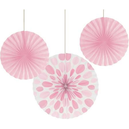 Classic Pink Paper Fan Set, - Pink Fans