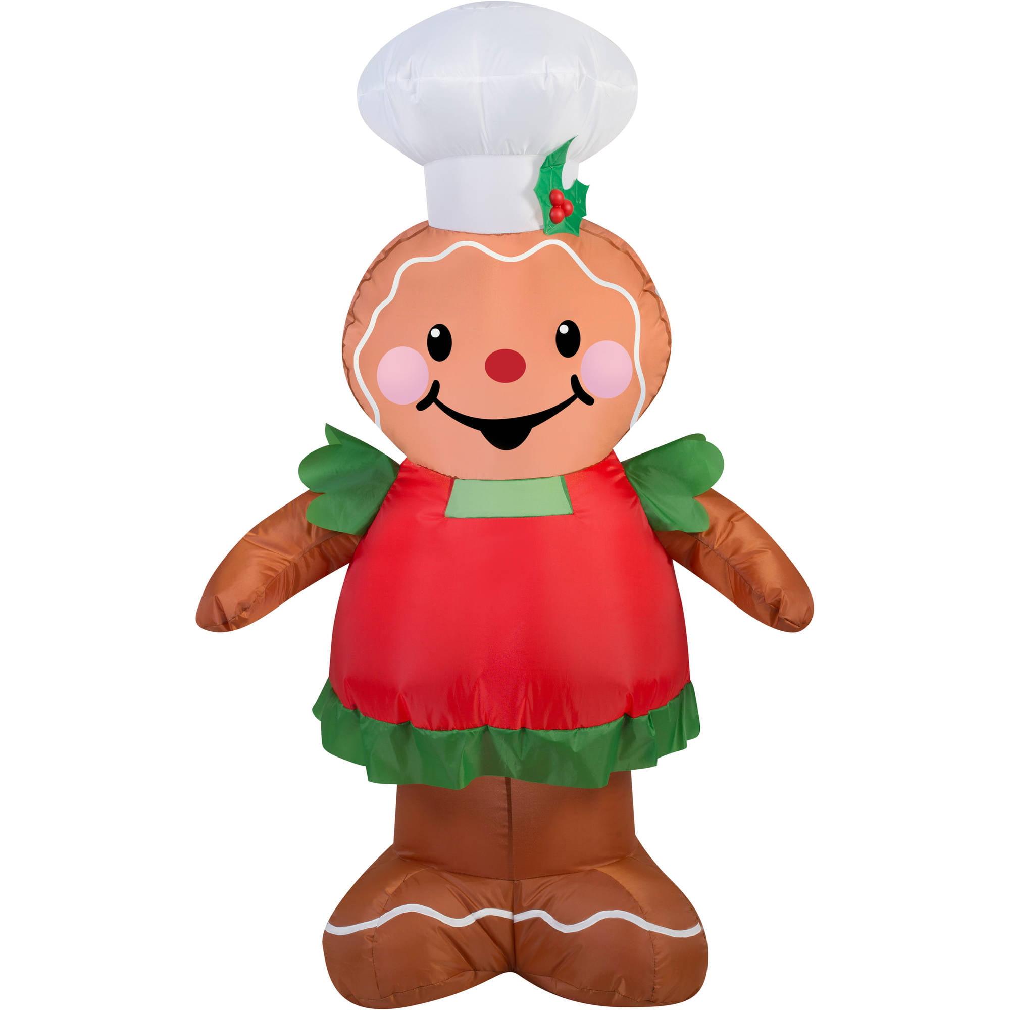 gemmy airblown christmas inflatables gingerbread 35 walmartcom - Inflatable Gingerbread Man Christmas Decor